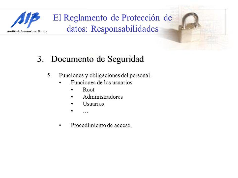 El Reglamento de Protección de datos: Responsabilidades 3. Documento de Seguridad 5.Funciones y obligaciones del personal. Funciones de los usuariosFu