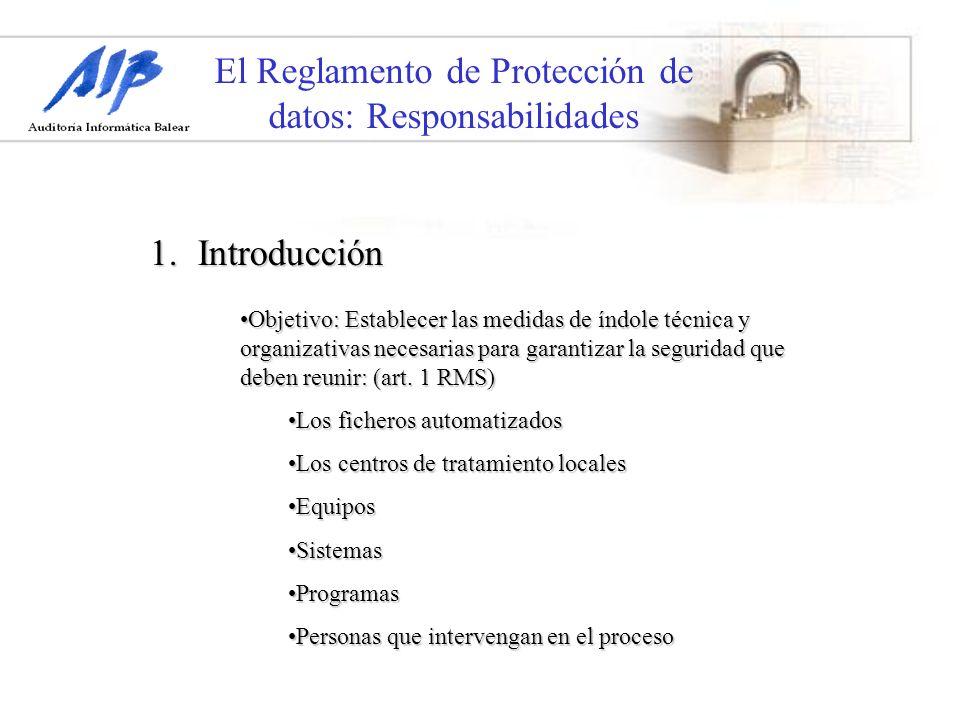 El Reglamento de Protección de datos: Responsabilidades Existen Medidas de Seguridad a tomar según clasificación de nivel de seguridad anterior:Existen Medidas de Seguridad a tomar según clasificación de nivel de seguridad anterior: 1.Medidas de seguridad de nivel básico: Sistema de Registro de incidencias.Sistema de Registro de incidencias.