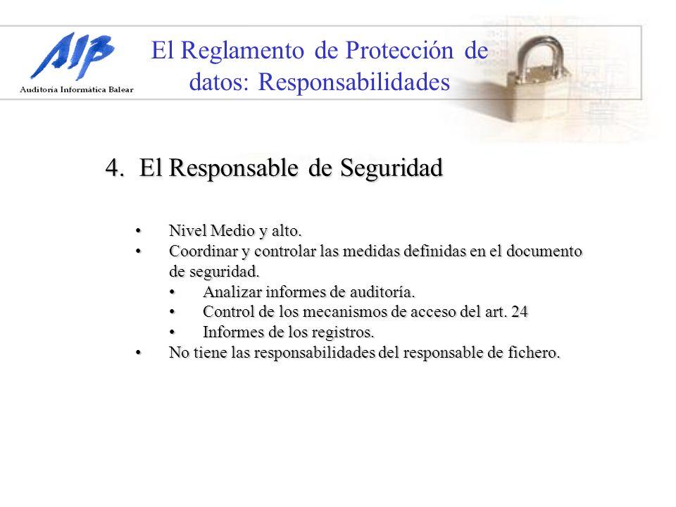El Reglamento de Protección de datos: Responsabilidades 4. El Responsable de Seguridad Nivel Medio y alto.Nivel Medio y alto. Coordinar y controlar la