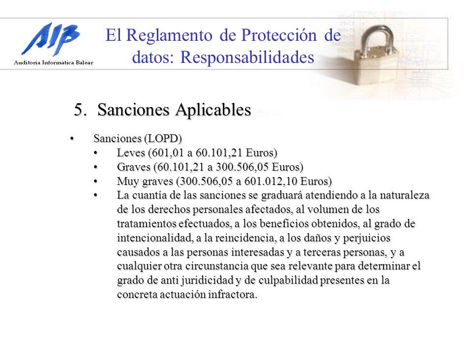 El Reglamento de Protección de datos: Responsabilidades Sanciones (LOPD)Sanciones (LOPD) Leves (601,01 a 60.101,21 Euros)Leves (601,01 a 60.101,21 Eur