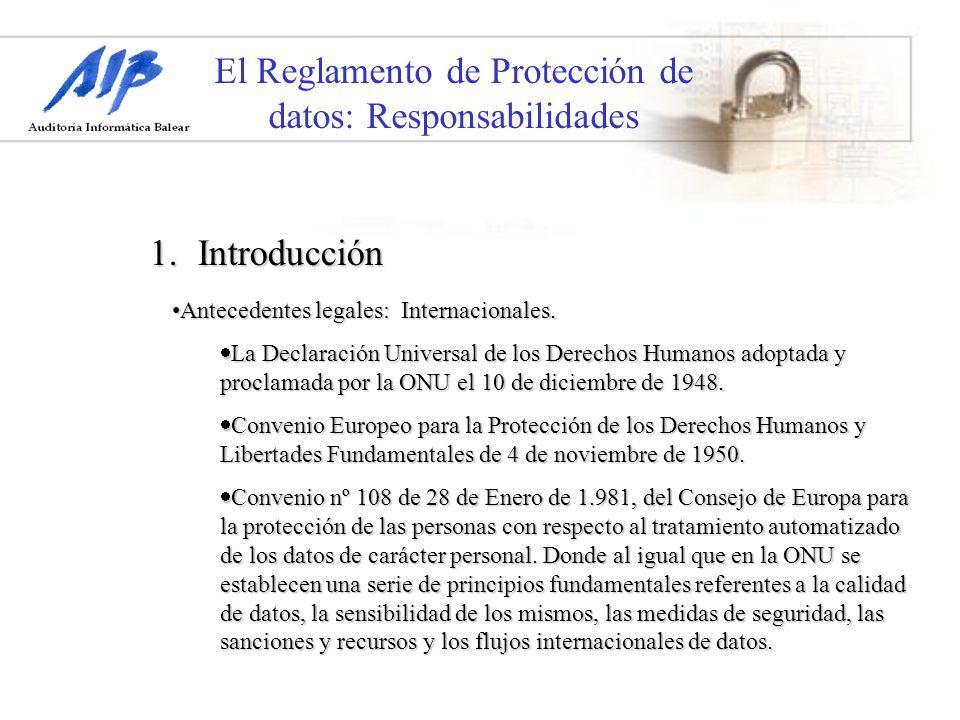 El Reglamento de Protección de datos: Responsabilidades 1.Introducción Antecedentes legales: Internacionales.Antecedentes legales: Internacionales. La