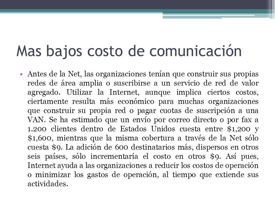 Mas bajos costo de comunicación Antes de la Net, las organizaciones tenían que construir sus propias redes de área amplia o suscribirse a un servicio