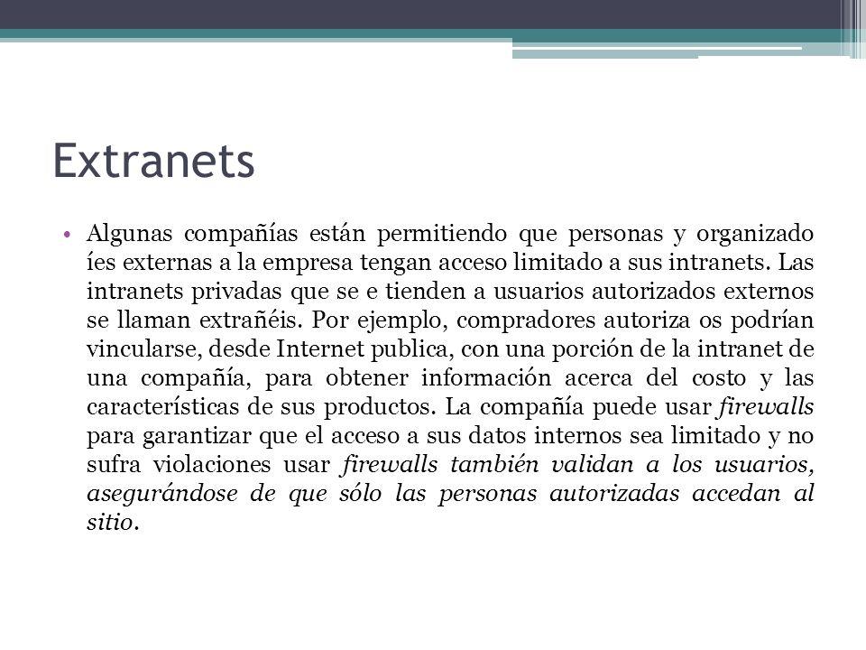 Extranets Algunas compañías están permitiendo que personas y organizado íes externas a la empresa tengan acceso limitado a sus intranets. Las intranet