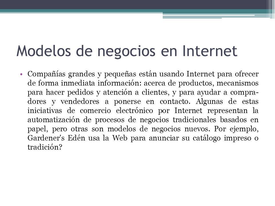 Modelos de negocios en Internet Compañías grandes y pequeñas están usando Internet para ofrecer de forma inmediata información: acerca de productos, m
