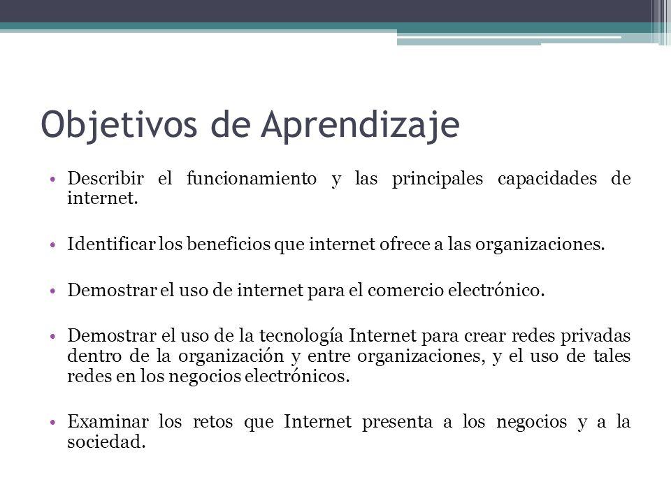 Objetivos de Aprendizaje Describir el funcionamiento y las principales capacidades de internet. Identificar los beneficios que internet ofrece a las o
