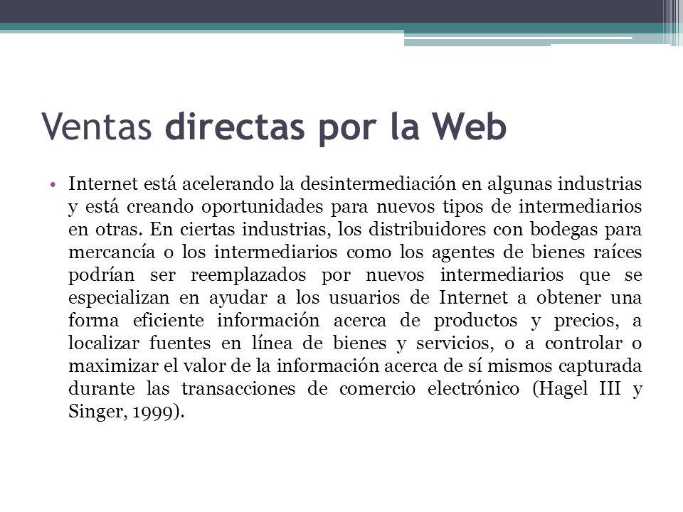 Ventas directas por la Web Internet está acelerando la desintermediación en algunas industrias y está creando oportunidades para nuevos tipos de inter
