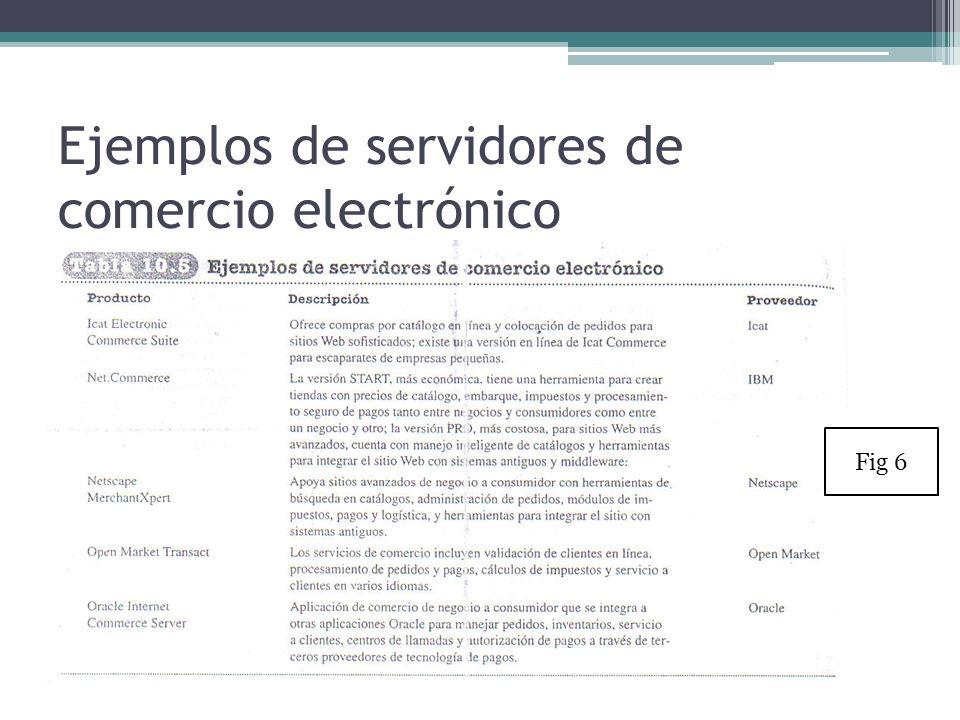 Ejemplos de servidores de comercio electrónico Fig 6