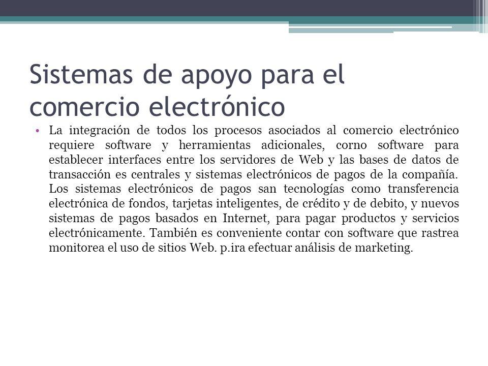 Sistemas de apoyo para el comercio electrónico La integración de todos los procesos asociados al comercio electrónico requiere software y herramientas
