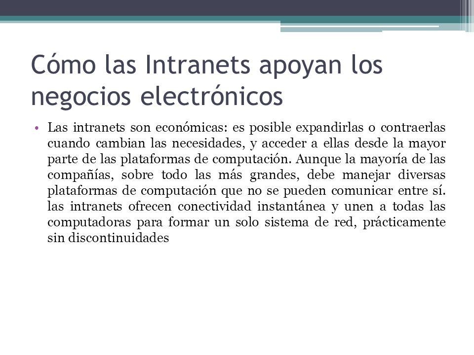 Cómo las Intranets apoyan los negocios electrónicos Las intranets son económicas: es posible expandirlas o contraerlas cuando cambian las necesidades,