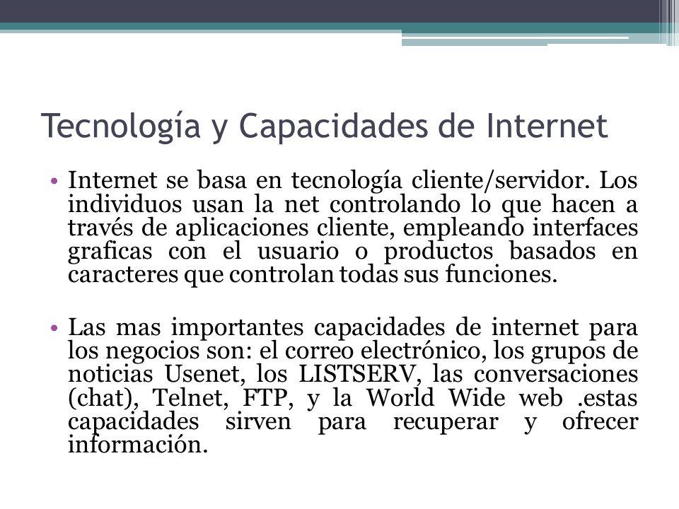 Tecnología y Capacidades de Internet Internet se basa en tecnología cliente/servidor. Los individuos usan la net controlando lo que hacen a través de
