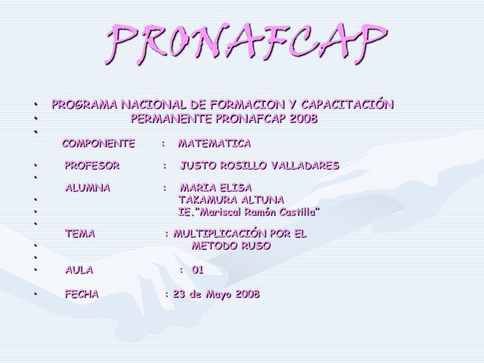 PRONAFCAP PROGRAMA NACIONAL DE FORMACION Y CAPACITACIÓNPROGRAMA NACIONAL DE FORMACION Y CAPACITACIÓN PERMANENTE PRONAFCAP 2008 PERMANENTE PRONAFCAP 20