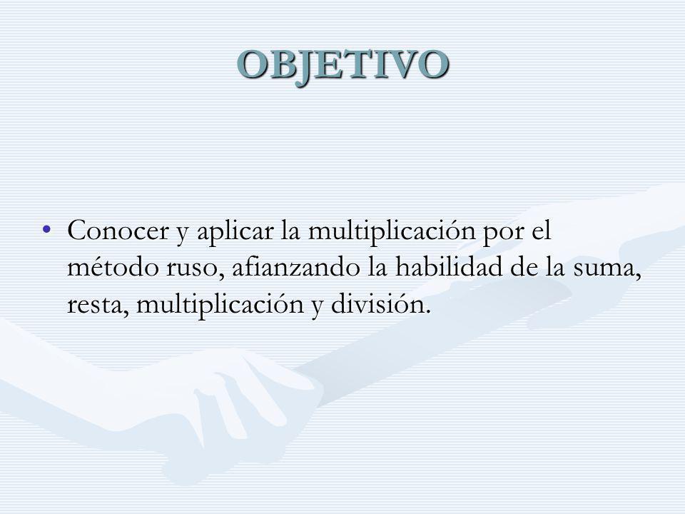 OBJETIVO Conocer y aplicar la multiplicación por el método ruso, afianzando la habilidad de la suma, resta, multiplicación y división.Conocer y aplica