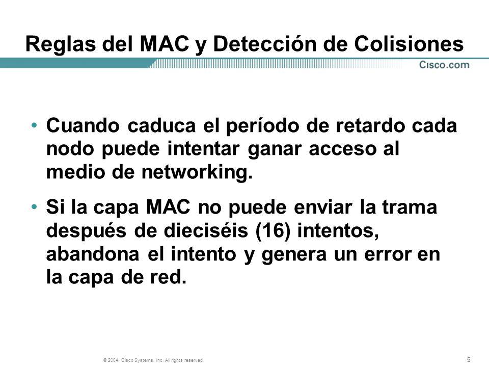 555 © 2004, Cisco Systems, Inc. All rights reserved. Reglas del MAC y Detección de Colisiones Cuando caduca el período de retardo cada nodo puede inte