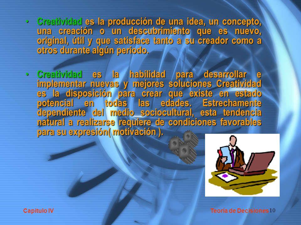 10 Creatividad es la producción de una idea, un concepto, una creación o un descubrimiento que es nuevo, original, útil y que satisface tanto a su cre