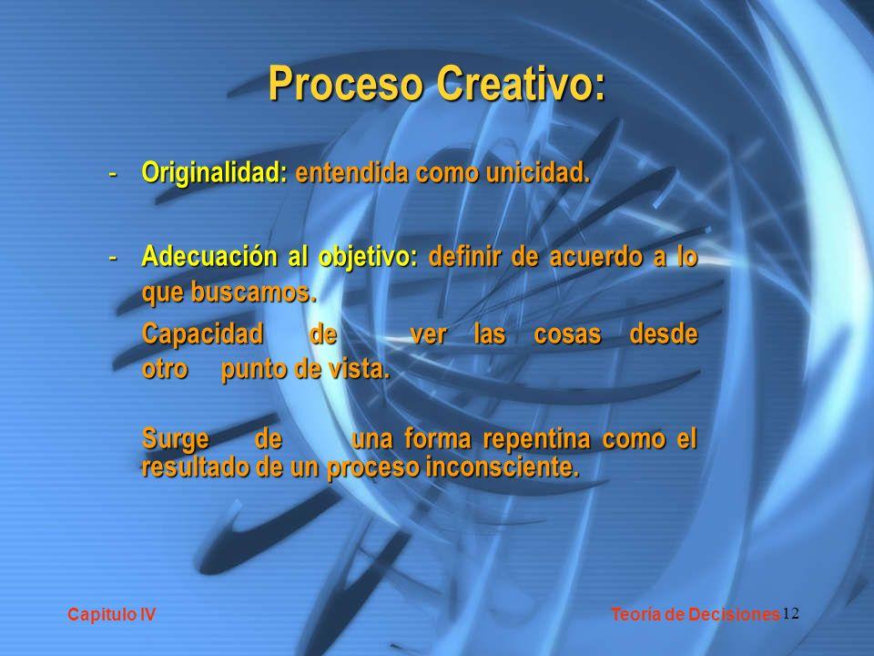 12 Proceso Creativo: - Originalidad: entendida como unicidad. - Adecuación al objetivo: definir de acuerdo a lo que buscamos. Capacidad de ver las cos