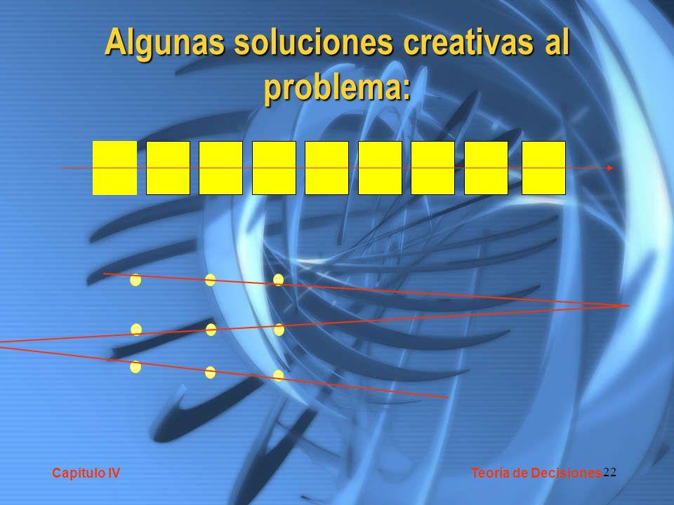22 Algunas soluciones creativas al problema: Capitulo IV Teoría de Decisiones