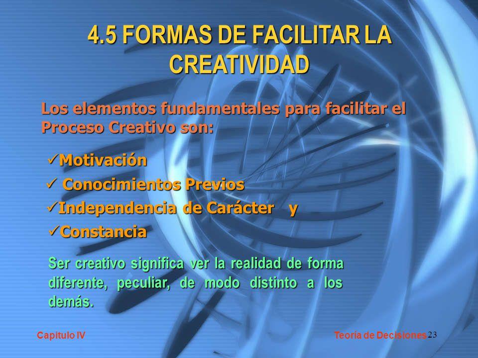 23 4.5 FORMAS DE FACILITAR LA CREATIVIDAD Los elementos fundamentales para facilitar el Proceso Creativo son: Motivación Motivación Conocimientos Prev