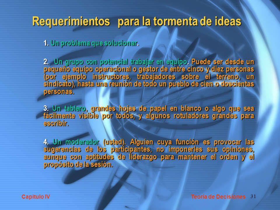 31 Requerimientos para la tormenta de ideas 1.Un problema que solucionar.