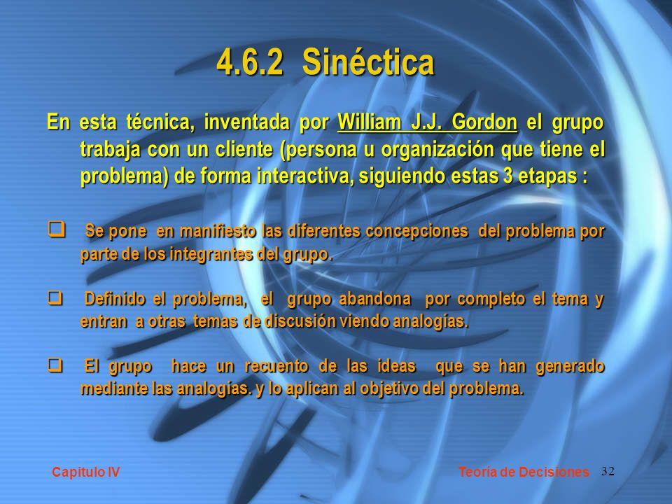 32 4.6.2 Sinéctica En esta técnica, inventada por William J.J. Gordon el grupo trabaja con un cliente (persona u organización que tiene el problema) d