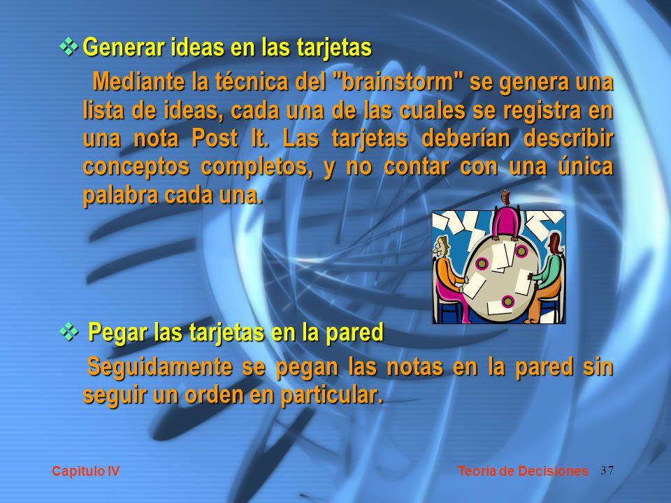 37 Generar ideas en las tarjetas Generar ideas en las tarjetas Mediante la técnica del brainstorm se genera una lista de ideas, cada una de las cuales se registra en una nota Post It.