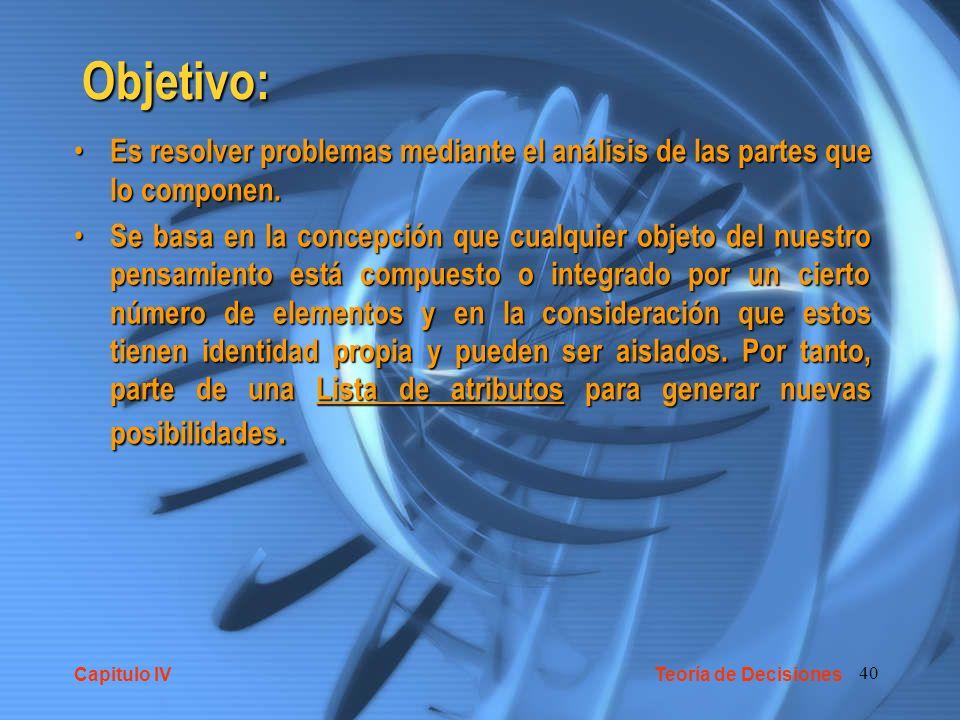 40 Objetivo: Es resolver problemas mediante el análisis de las partes que lo componen. Es resolver problemas mediante el análisis de las partes que lo