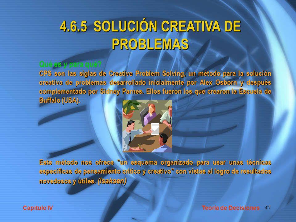 47 4.6.5 SOLUCIÓN CREATIVA DE PROBLEMAS Qué es y para qué? CPS son las siglas de Creative Problem Solving, un método para la solución creativa de prob