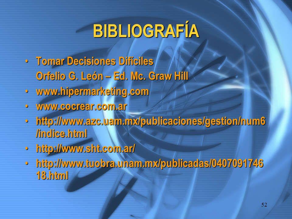 52 BIBLIOGRAFÍA Tomar Decisiones Difíciles Tomar Decisiones Difíciles Orfelio G. León – Ed. Mc. Graw Hill www.hipermarketing.com www.hipermarketing.co