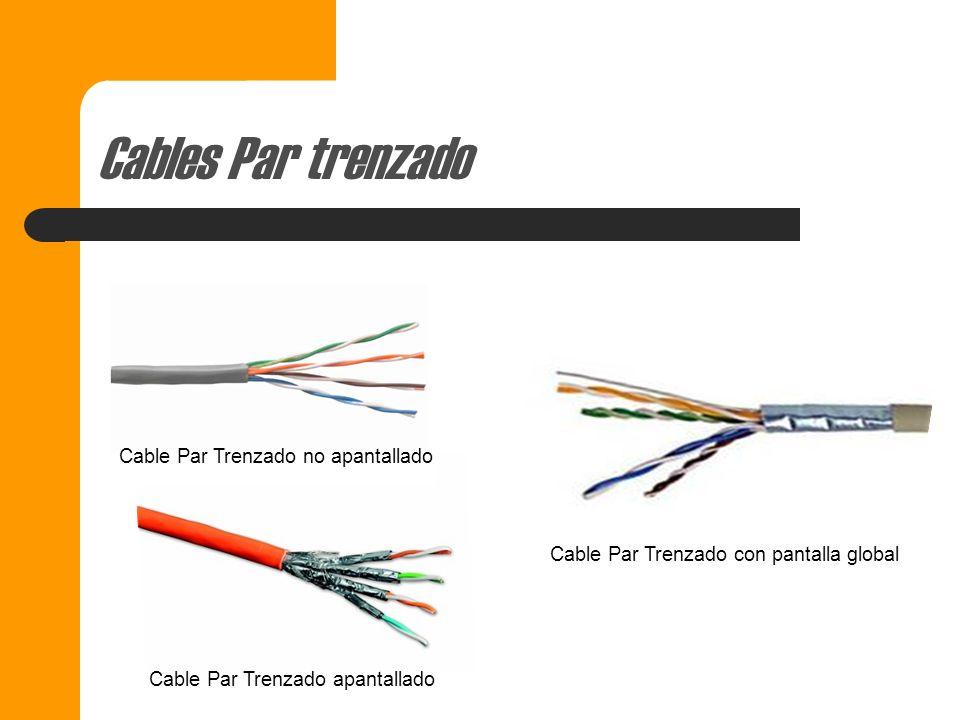 Tipos de Cable Par trenzado 1- Cable Par trenzado no apantallado (UTP) 2- Cable Par trenzado apantallado (STP) 3- Par trenzado con pantalla global (FT
