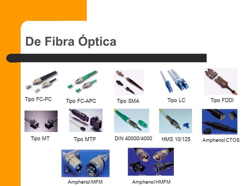 De Fibra óptica Tipo FC-PC Tipo FC-APC Tipo LC Tipo FDDI Tipo SMA Tipo MT Tipo MTP Tipo MTRJ Tipo DIN 40000/4000 Tipo HMS 10/125 Tipo HMS Mini 100/140
