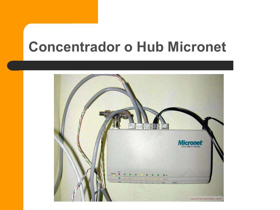 Concentradores Dispositivo que permite centralizar el cableado de una red. También conocido con el nombre de hub. Un concentrador funciona repitiendo