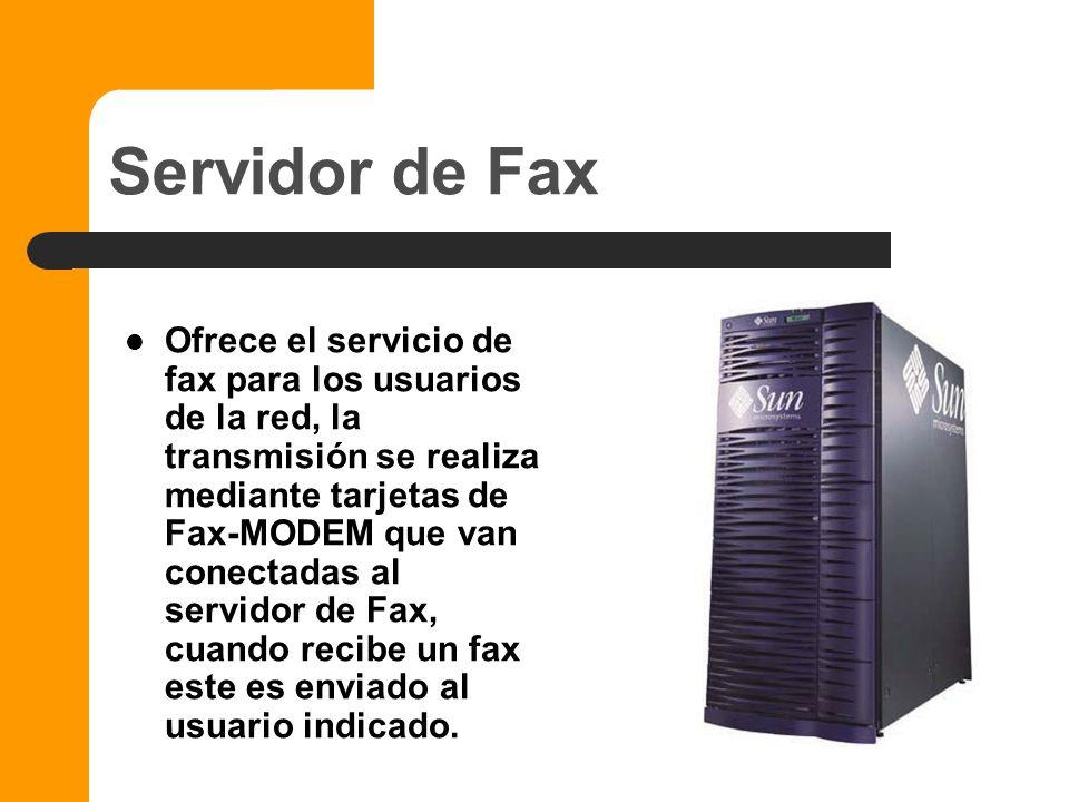 Servidor de correo electrónico Ofrece el servicio de correo electrónico en el ámbito local o de toda la compañía y puede efectuar la traducción entre