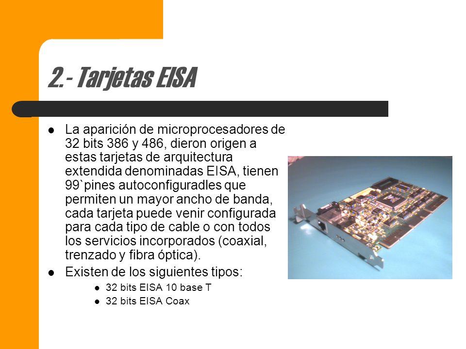 1.- Tarjetas ISA ISA – Tarjetas o adaptadores utilizados en equipos PC y XT de IBM y también en equipos AT´s (hasta Pentium II) la sigla ISA significa