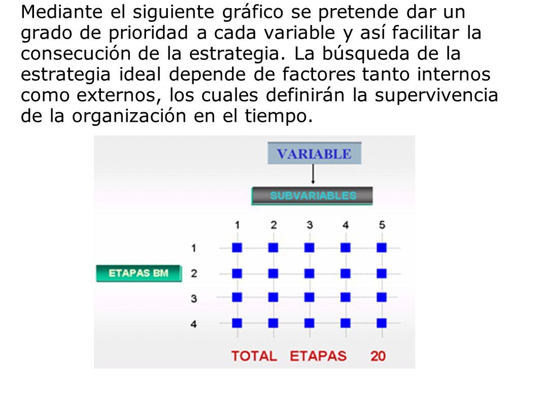 Mediante el siguiente gráfico se pretende dar un grado de prioridad a cada variable y así facilitar la consecución de la estrategia. La búsqueda de la