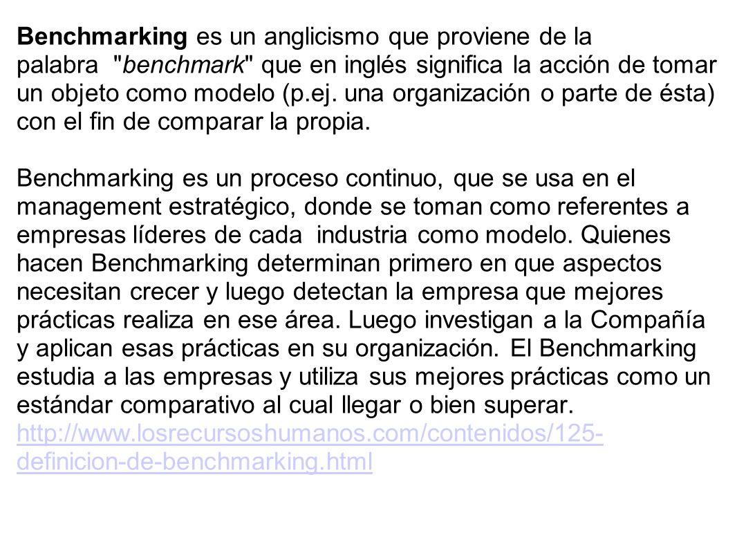 Benchmarking es un anglicismo que proviene de la palabra