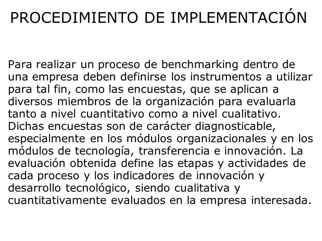 PROCEDIMIENTO DE IMPLEMENTACIÓN Para realizar un proceso de benchmarking dentro de una empresa deben definirse los instrumentos a utilizar para tal fi