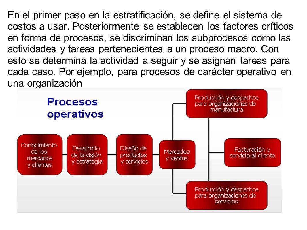 En el primer paso en la estratificación, se define el sistema de costos a usar. Posteriormente se establecen los factores críticos en forma de proceso