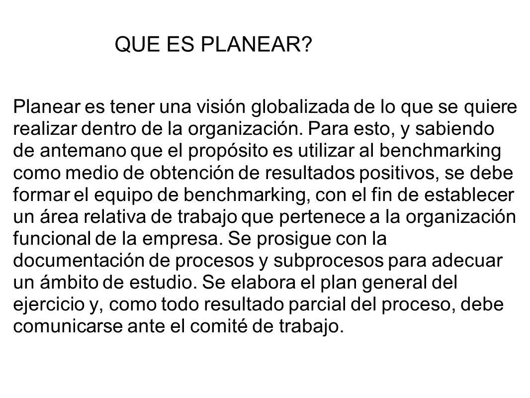 Planear es tener una visión globalizada de lo que se quiere realizar dentro de la organización. Para esto, y sabiendo de antemano que el propósito es