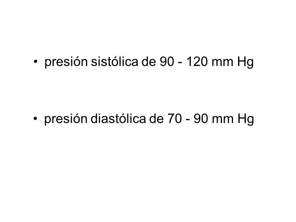 presión sistólica de 90 - 120 mm Hg presión diastólica de 70 - 90 mm Hg