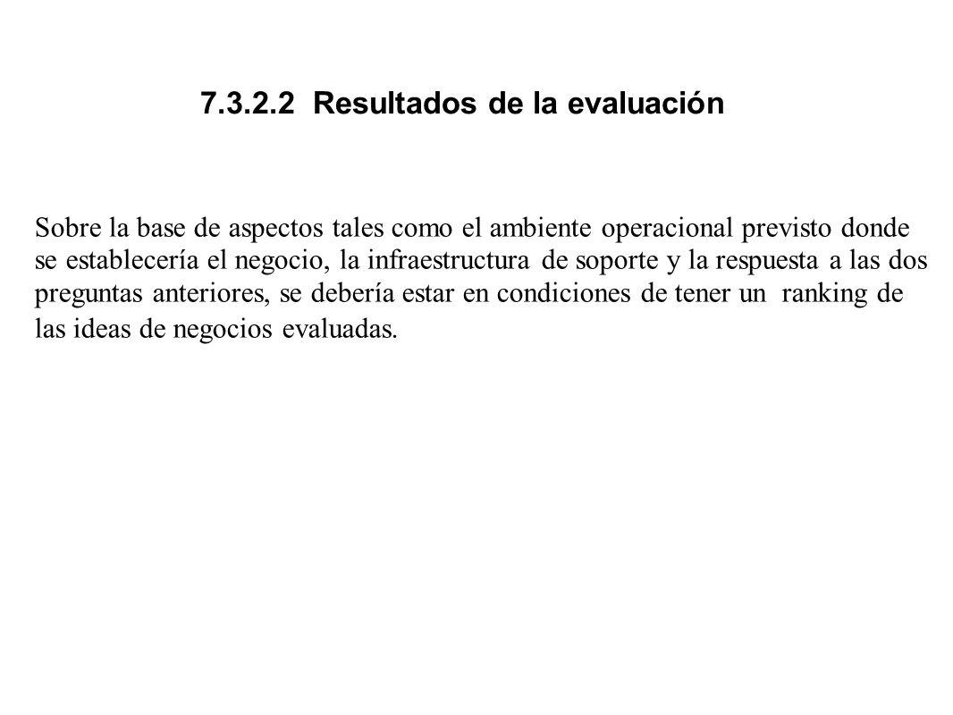 7.3.2.2 Resultados de la evaluación Sobre la base de aspectos tales como el ambiente operacional previsto donde se establecería el negocio, la infraes