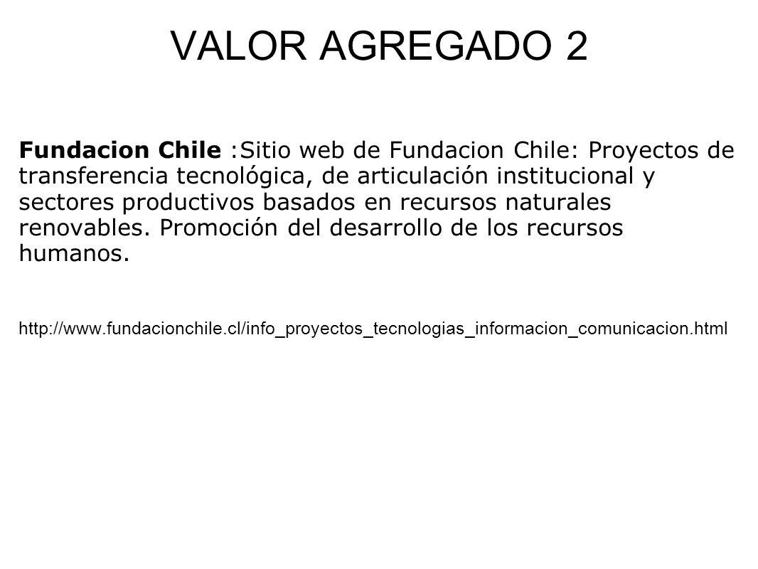 VALOR AGREGADO 2 Fundacion Chile :Sitio web de Fundacion Chile: Proyectos de transferencia tecnológica, de articulación institucional y sectores produ