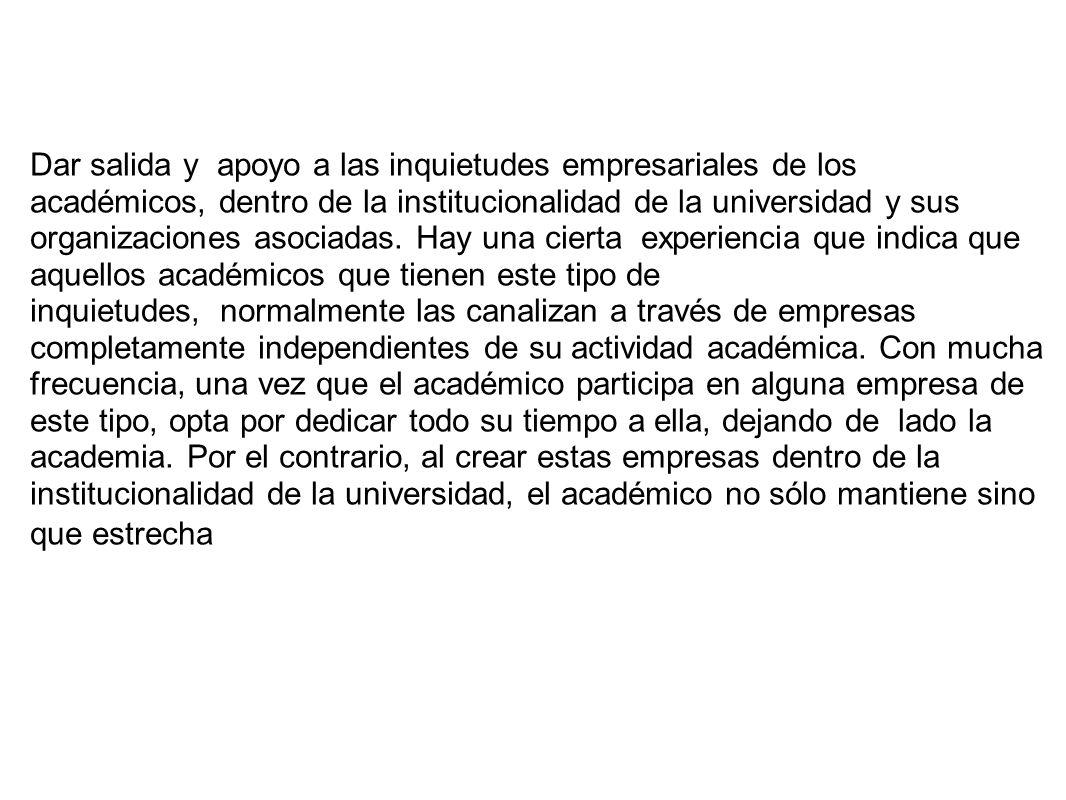 Dar salida y apoyo a las inquietudes empresariales de los académicos, dentro de la institucionalidad de la universidad y sus organizaciones asociadas.