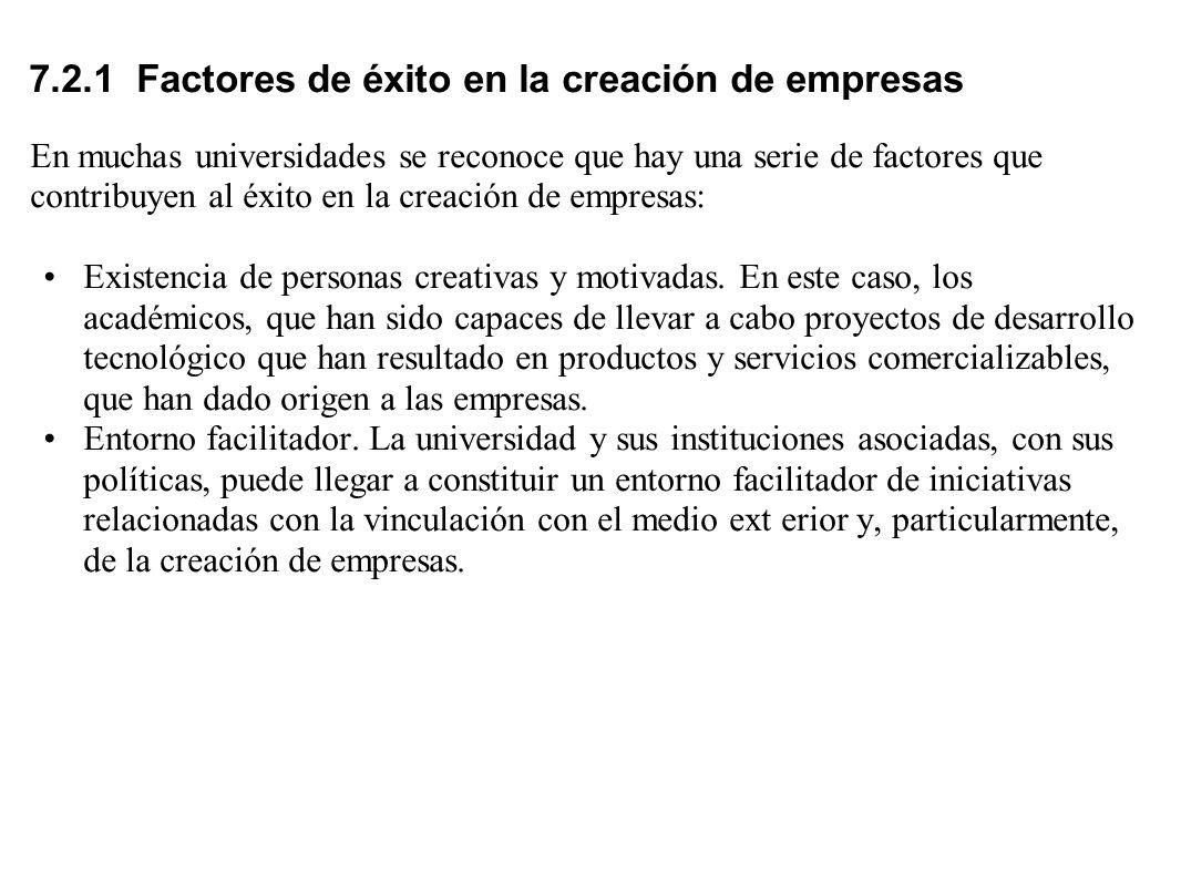 7.2.1 Factores de éxito en la creación de empresas En muchas universidades se reconoce que hay una serie de factores que contribuyen al éxito en la cr