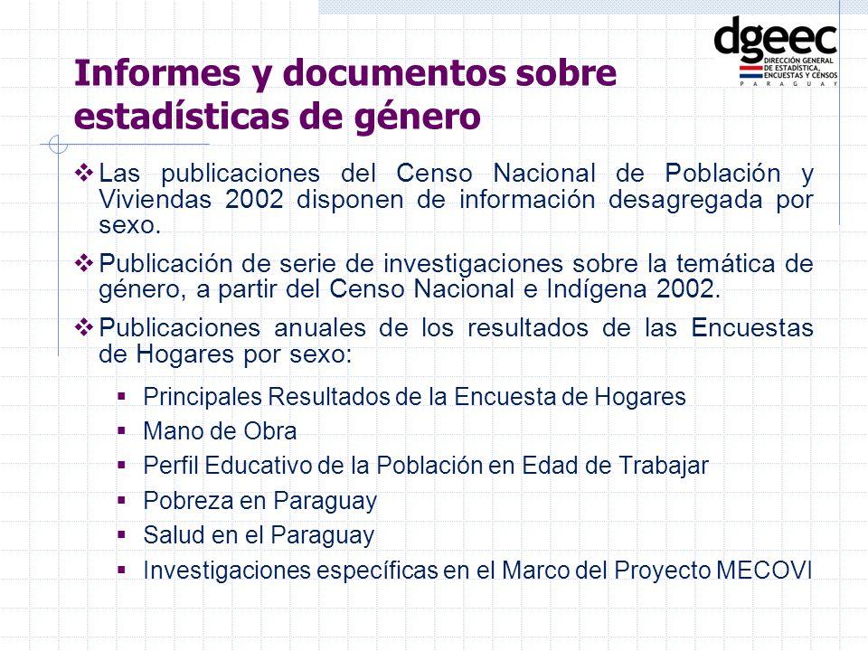 Las publicaciones del Censo Nacional de Población y Viviendas 2002 disponen de información desagregada por sexo. Publicación de serie de investigacion