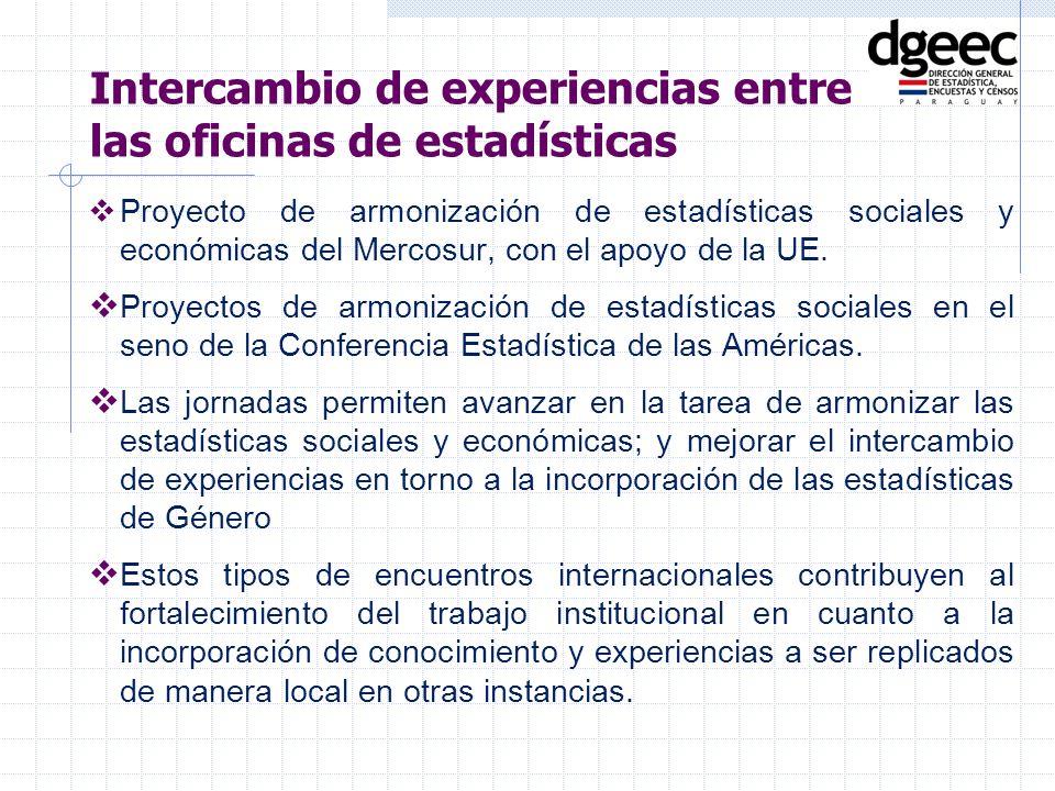 Proyecto de armonización de estadísticas sociales y económicas del Mercosur, con el apoyo de la UE. Proyectos de armonización de estadísticas sociales