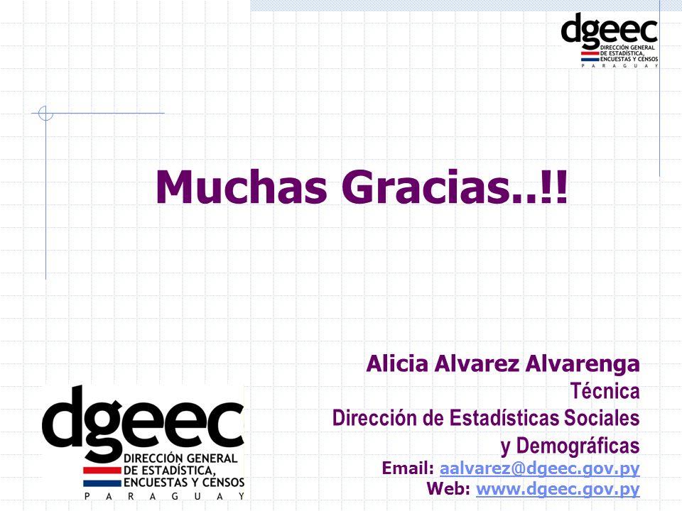 Muchas Gracias..!! Alicia Alvarez Alvarenga Técnica Dirección de Estadísticas Sociales y Demográficas Email: aalvarez@dgeec.gov.pyaalvarez@dgeec.gov.p