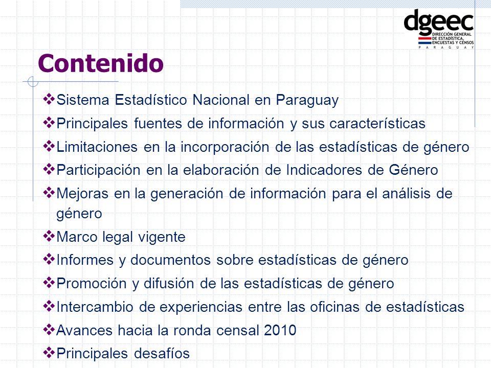Contenido Sistema Estadístico Nacional en Paraguay Principales fuentes de información y sus características Limitaciones en la incorporación de las es