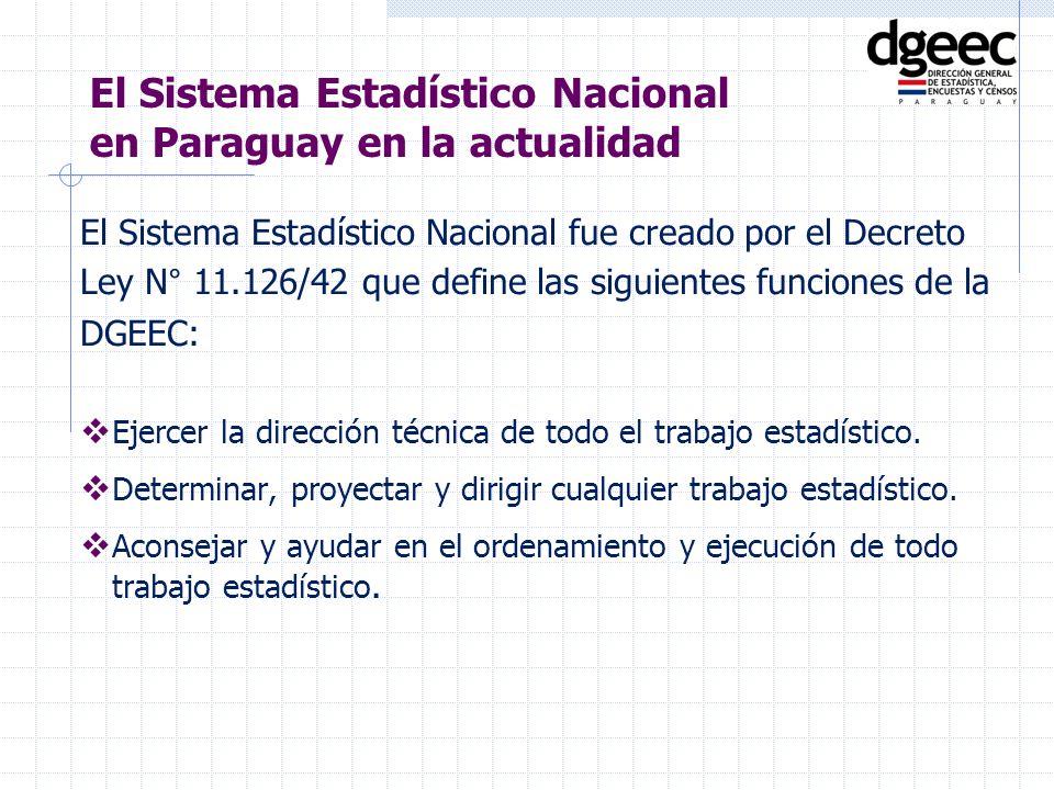 El Sistema Estadístico Nacional fue creado por el Decreto Ley N° 11.126/42 que define las siguientes funciones de la DGEEC: Ejercer la dirección técni