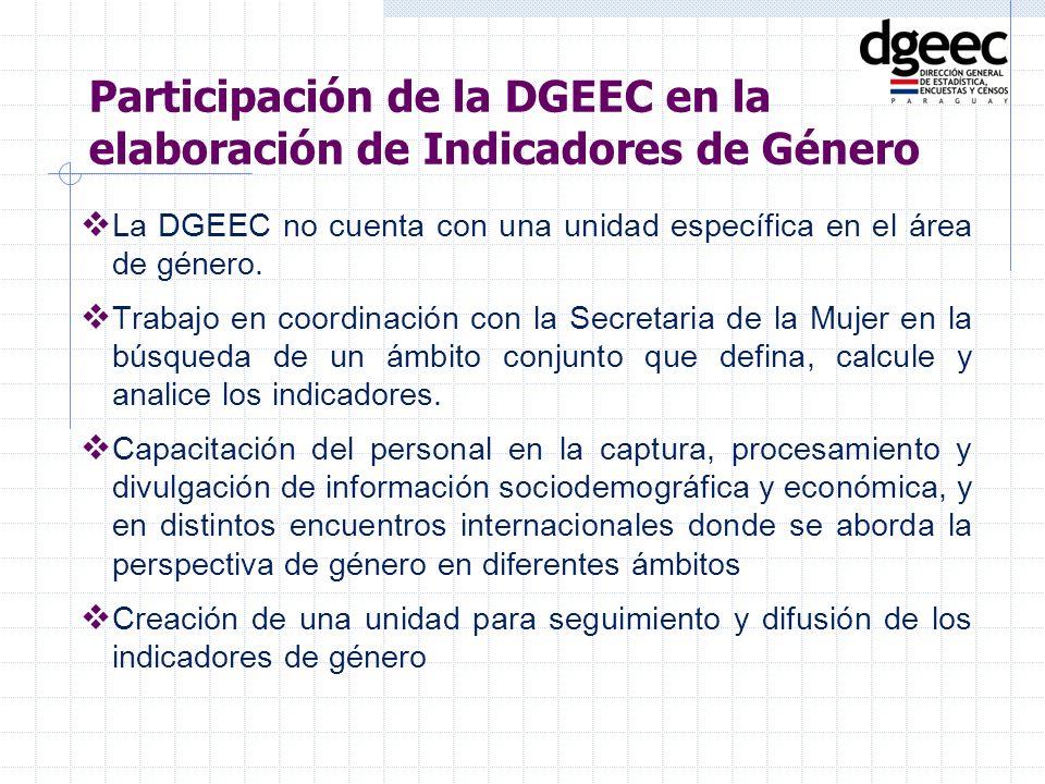 La DGEEC no cuenta con una unidad específica en el área de género. Trabajo en coordinación con la Secretaria de la Mujer en la búsqueda de un ámbito c