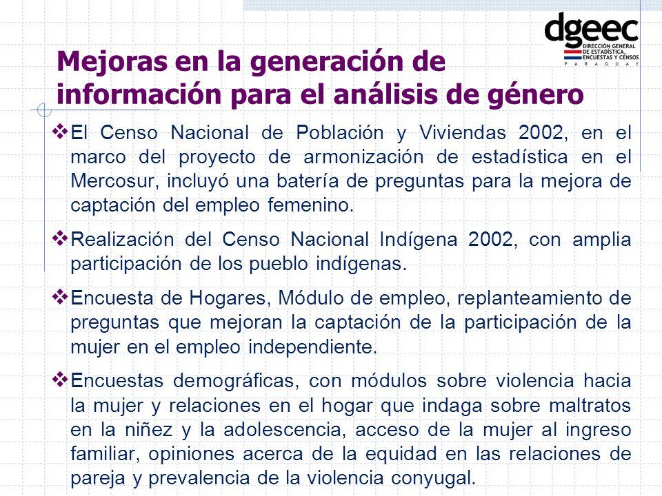 El Censo Nacional de Población y Viviendas 2002, en el marco del proyecto de armonización de estadística en el Mercosur, incluyó una batería de pregun