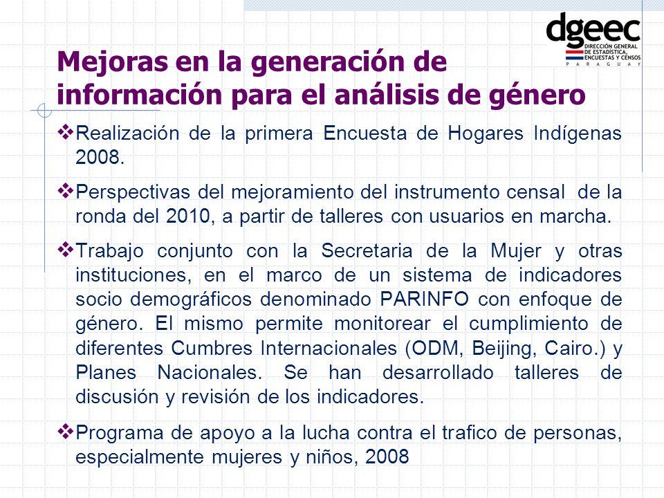 Realización de la primera Encuesta de Hogares Indígenas 2008. Perspectivas del mejoramiento del instrumento censal de la ronda del 2010, a partir de t